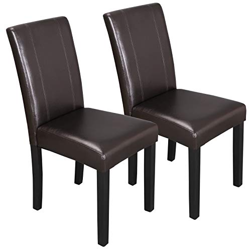 ZENY Set of 6 Solid Wood Leatherette Padded Parson Chair, Dining Chair Brown Furniture Urban Style by ZENY (Image #1)