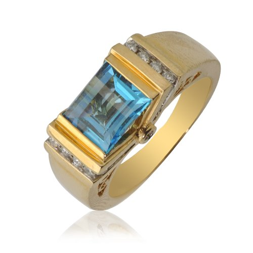 Blue Topaz and Diamond Princess Cut & Round Shape Ring 2.75 ct tw in 14K Yellow Gold.size 6.5