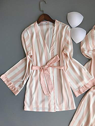 Pantalón Rayas Mujer Xl Ahsxl Pijama Para Conjunto 3 A Camisón Femenino Piezas Túnica De 8PY8wqf