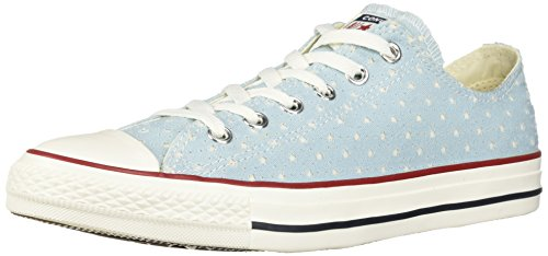 Converse Unisex Chuck Taylor Perforated Stars Low Top Sneaker, Ocean Bliss/Garnet, 6.5 M US Men's Size/8.5 M US Women's Size