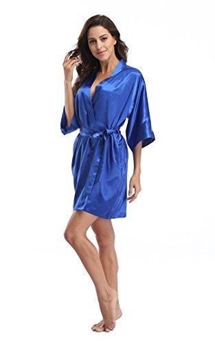 Luvrobes Women's Satin Kimono Robe, Solid Color, Short (S, Sapphire) (Solid Color Sapphire)