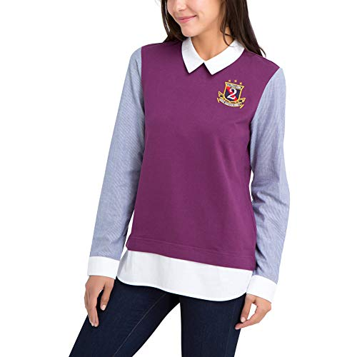 U.S. Polo Assn. Womens Long Sleeve French Terry 2Fer Sweater with Woven Collar and Sleeves - Red Bramble Wine, Small