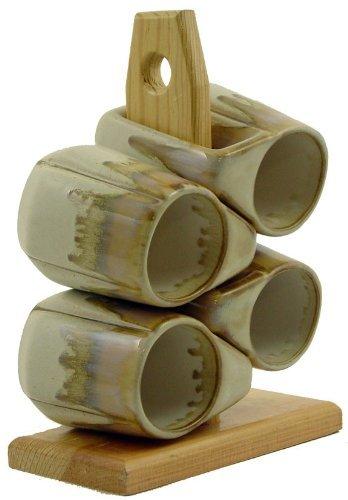 Set Of Four (4) PADILLA & PRADO STONEWARE - 12 Ounce Coffee/Tea Cup Dinnerware Round Rim Designed Mugs & Mug Tree by Creative Structures