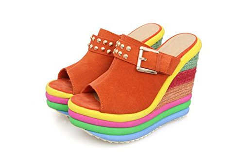 Yougao Womens Rivet Peep Toe Rainbow Wegde Sandal Orange US 7(EU 38)