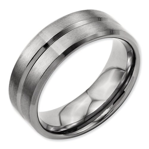 8mm Beveled Edge Brushed and Polished Finish Grooved Designer Titanium Contemporary Wedding Band - Size 9.5