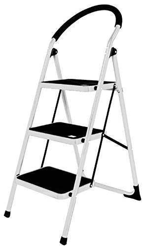 3 Steps Strong Folding Ladder Non Slip Rubber Mat Home Kitchen Step Stool Ladder Generic