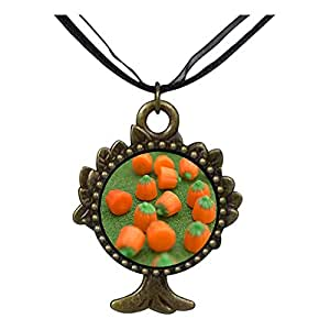 Chicforest Bronze Retro Style multi Halloween pumpkin candy The Tree Of Life And Wishing Pendant