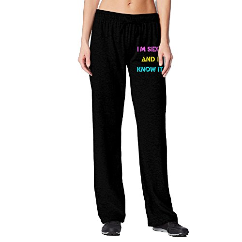 [BakeOnion Women's I M SEXY AND I KNOW IT Performance Workout Pants XL Black] (Scott Hall Costume)