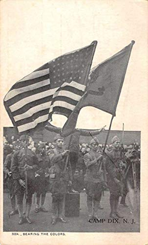Camp Dix New Jersey Waving Flags Patriotic Antique Postcard K99410