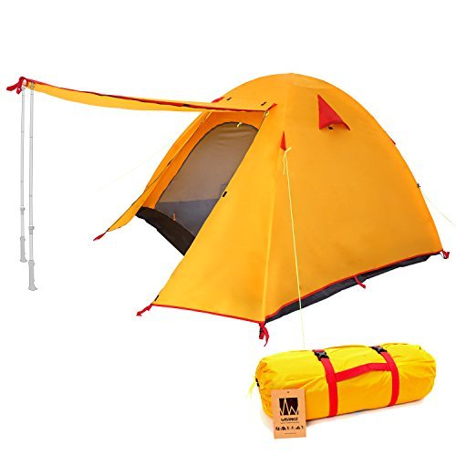 Weanas Professional Backpacking Tent 2 3 4 Person 3 Season Weatherproof Double Layer Large Space Aluminum Rod for Outdoor Family Camping Hunting Hiking Adventure Travel (Orange, 2-3 Person) ()