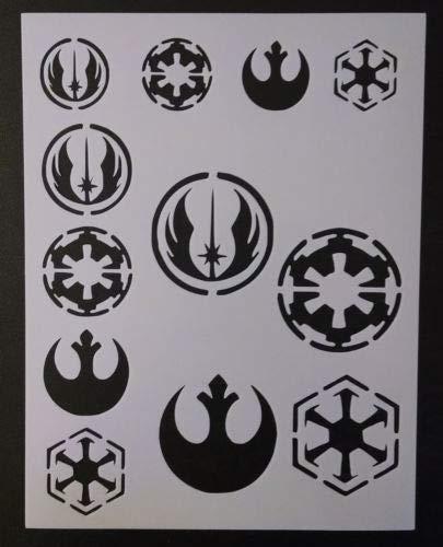 Harissa Star Wars Rebel Empire Sith Jedi Logo Seal 8.5'', x 11'', Stencil Fast Reusable, Sturdy, Cut Stencil Sheet (not Paper)]()