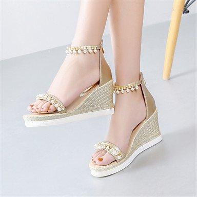Innovador Zapatos Informal Blanco Oficina Confort Vestido Personalizados Semicuero Gold Trabajo LvYuan club del Tacón Materiales Sandalias Cuña y BCqUUxt4Iw