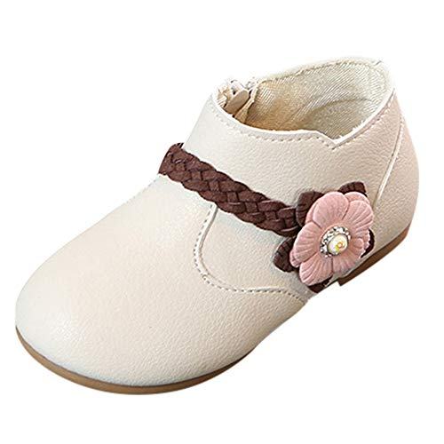 Baby Toddler Girls Princess Shoes Fall Winter Boots for 1-6 Years Old,Kids Solid Flower Weave Zip Casual Shoes (18-24 Months, Beige)]()