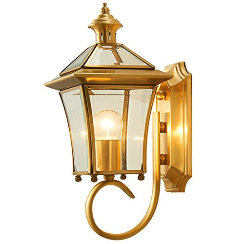 XWHZS Vintage Antique Wall Sconce Wall Lamp for Headboard Bedroom Staircase Door Porch Copper Courtyard Outdoor Waterproof 2236CM Wall Lights Fixture