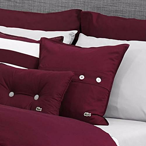 Lacoste Brushed Twill 18x18 Throw Pillow, Cabernet