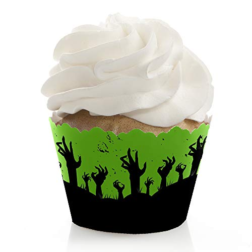 Zombie Zone - Halloween or Birthday Zombie Crawl Party Decorations - Party Cupcake Wrappers - Set of 12