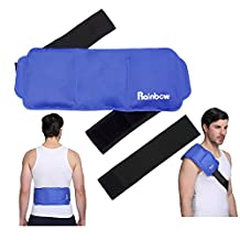 "Shoulder Ice Gel Pack Hot Cold Therapy Wrap with Elastic Strap, Great for Relieving Waist Strain, Chronic Back Pain, Knee Replacement Swelling, Menstrual Pain, 15""x 6"", Blue"