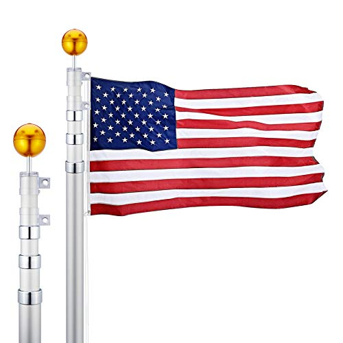 CO-Z 20 Feet Aluminum Telescoping Flag Poles with 3-Feet-by-5-Feet American Flag, Golden Ball Finial, PVC Sleeve and Hooks & Screws