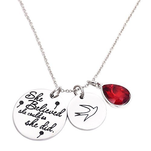 - LParkin She Believed She Could So She Did Pendant Necklace Birthstone Motivation Jewelry