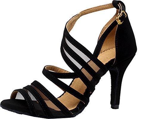 toe JJ Cloth 7036 Ballroom shoes Dance Womens Party CFP Latin Black Tango Dance Sexy Peep wedding FqPqnWd
