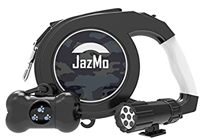 JazMo Premium Products Retractable Dog Leash with LED Flashlight-26 Foot Heavy Duty non Tangle Nylon Ribbon Dog Leash for Medium and Large Dogs,The Best Tape Leash Lead for Night Walking