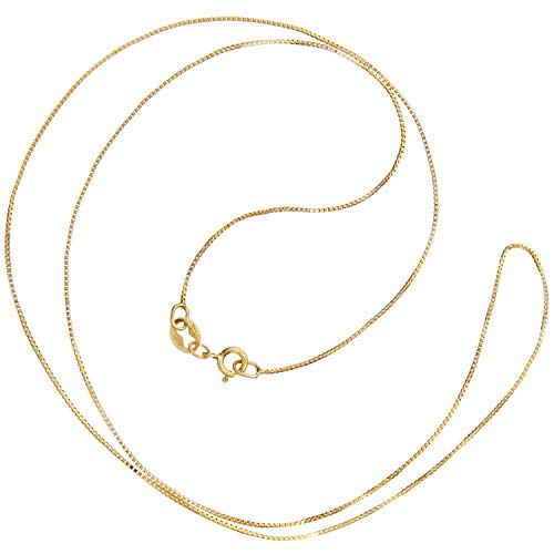 14K Solid Yellow Gold Necklace | Box Link Chain | 18 Inch Length | .60mm Thick | With Gift Box (14k Solid Gold Link)