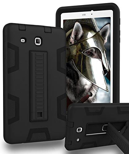 Samsung Galaxy Tab E 8.0 Case,KAKA[Kickstand Features][Shock Absorption]Three-Layer Heavy Duty Rugged Armor High Impact Resistant Bumper Protective Case Cover for Samsung Galaxy Tab E 8.0,Black