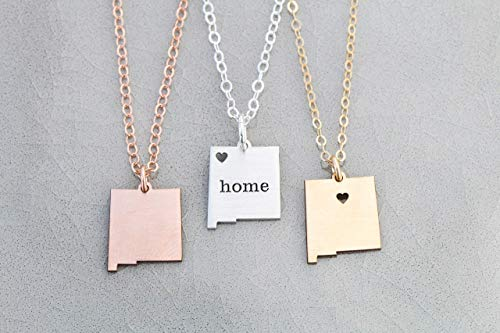 New Mexico Home State Necklace - IBD - Personalize with Name or Coordinates – Choose Chain Length – Pendant Size Options - Ships in 1 Business Day - 935 Sterling Silver 14K Rose Gold Filled Charm