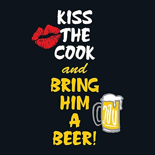Attitude Aprons Fully Adjustable Kiss The Cook and Bring Him A Beer Apron-Black