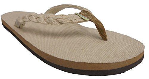 Rainbow Sandals Women's Single Layer Hemp Flirty Braidy, Natural, Ladies Large / 7.5-8.5 B(M) - Hemp Single
