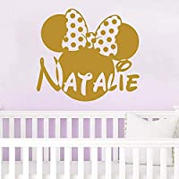 Wall Name Decal Minnie Mouse Head Bow Vinyl Decals Sticker Custom Name Personalized Baby Girl Name Decor Bedroom Baby Room Decor Art ZX138