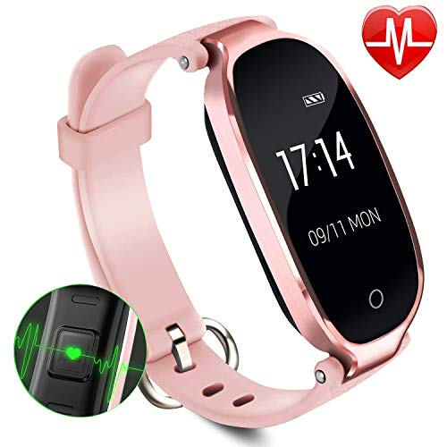 Lady Fitness Tracker,Smartwatch Activity Tracker Heart Rate Monitor Blood Pressure Monitor Valentine Day Gift Smart Sport Bracelet Waterproof IP67, Bluetooth Pedometer Wristband Run Swim Sleep Monitor