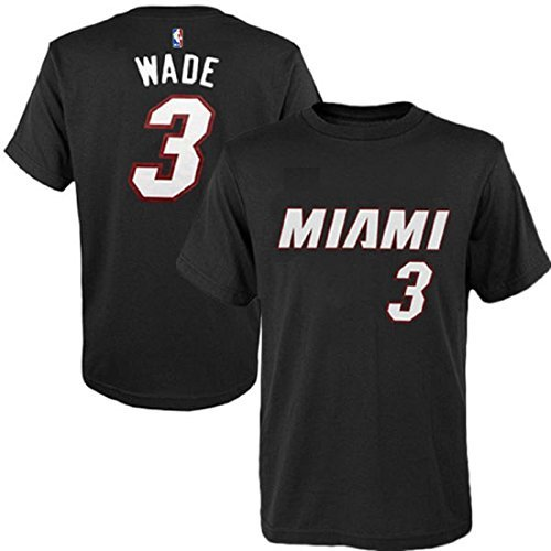 Dwyane Wade Miami Heat #3 NBA Youth Player T-shirt (Black, Youth Large (Black Youth Players T-shirt)