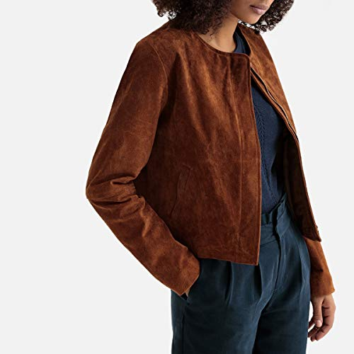 La Redoute Collections Womens Suede Cropped Collarless Jacket Brown Size US 4 - FR 34 from La Redoute