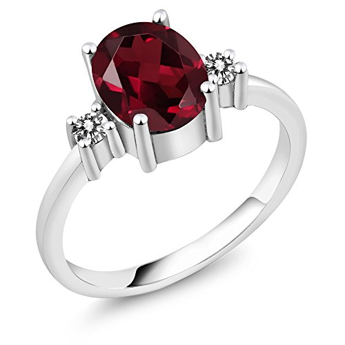 Gem Stone King 2.33 Ct Oval Red Rhodolite Garnet White Diamond 925 Sterling Silver Women s 3-Stone Ring Available 5,6,7,8,9