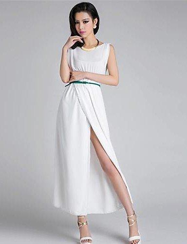 PU&PU Robe Aux femmes Trapèze Sexy / Soirée / Décontracté , Couleur Pleine Col Arrondi Maxi Mélanges de Coton , white-s , white-s