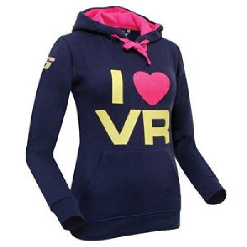 """MotoGP–Sudadera con capucha para mujer, con el texto en inglés """"I Love Valentino Rossi"""", color azul marino"""
