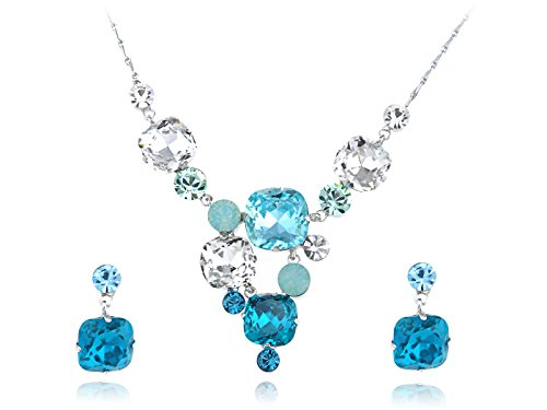 Alilang Aqua Gradient Rectangle Bunch Swarovski Crystal Element Earring Necklace Set