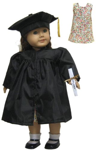 Beatrice Collection Black Graduation Outfit, Dress and Diploma Included! Fits 18