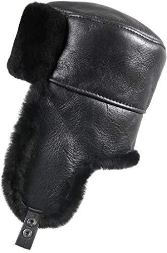 Zavelio Men's Shearling Sheepskin Trapper Russian Hat Medium Solid Black (Trapper Large)