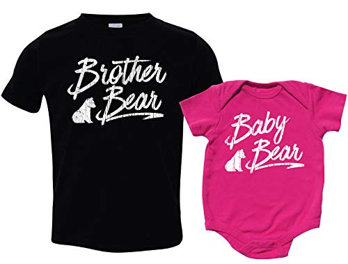 Sister Brother Matching Sibling Shirts, Baby Bear, Includes Small (6-8) & 0-3 m