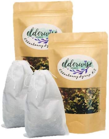 Elderberry Syrup Kits 2X – Each Makes Approx. 16oz – Comes with Brewing Bag – Organic Ingredients – DIY – Elderberries – Rosehips – Ginger – Echinacea – Cinnamon – Cloves – Elderwise Organics