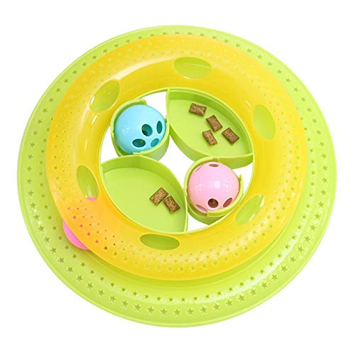 (Cat Toy - Pet Cat Toy Interactive Turntable Training Amusement Plate Crazy Ball Disk Originality Funny Feeders - Soccer Interactive Fabric Ribbon Dispenser Rings Variety Hanging Frame Atta)