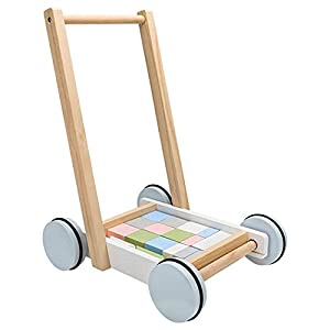 Wooden Baby Walker,Toys Wooden Baby Walker with Blocks,Baby Walker Trolley Walkers,Roll Cart Push and Pull Toy Toddler…