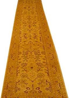 16 foot Thin Runner Rug New Light Gold Carpet Jaipur Hand-knotted 475 x 81 cm