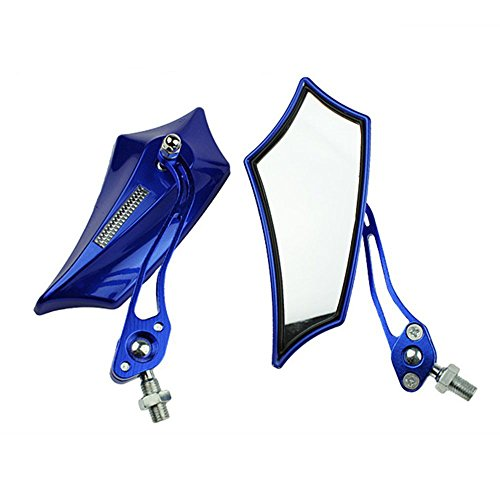 (ESUPPORT Blue Universal Motorcycle Motorbike Bike 8mm 10mm Rear View Side Mirror Scooter ATV)