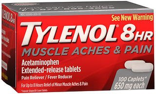 Strength Arthritis Tylenol Extra (Tylenol 8HR Muscle Aches & Pain Extended-Release Tablets - 100 ct, Pack of 2)