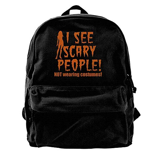 Sunkot Canvas Shoulder Backpack I See Scary People! Halloween NOT Wearing Costumes Laptop and Notebook, Daypack for Travel Outdoor -