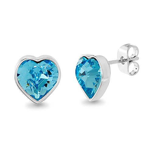 (Devin Rose Heart Stud Earrings for Women Made With Swarovski Crystals in Rhodium Plated Brass (Color: Aquamarine))