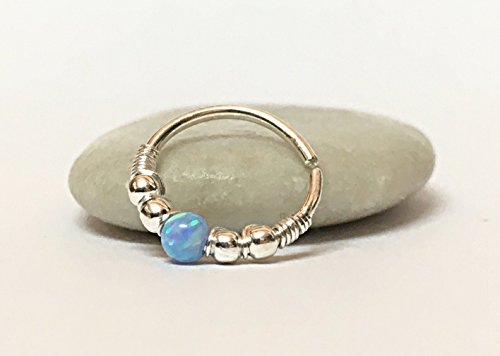 Tiny Opal Nose Hoop Septum Ring Gold 18g 20g (Gold Opal Nose Ring)